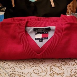 Tommy Hilfiger 100% Cotton Red V Neck Sweater